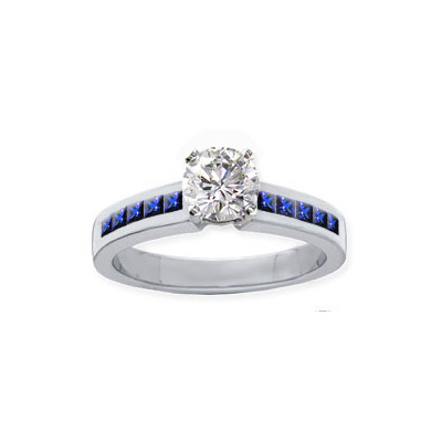 0.14 Carats, Round, Engagement ring with side stones settings