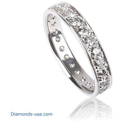 4 mm 1.25 carat diamonds wedding eternity band