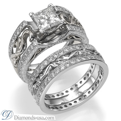0.42 Carats, Cushion, Engagement and Wedding Diamond Rings Set
