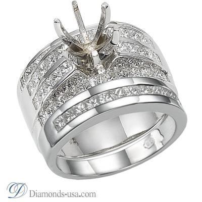 0.41 Carats, Princess, Engagement and Wedding Diamond Rings Set