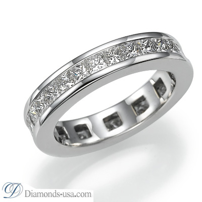 2.35 carats Princess diamond Eternity or Anniversary Band