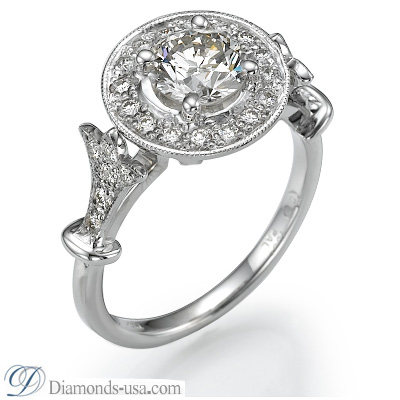1.51 Carats, Round, Engagement and Wedding Diamond Rings Set