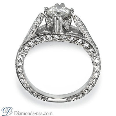 Antique style hand engraved engagement ring