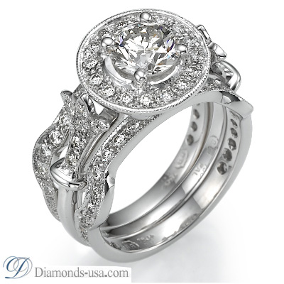 0.53 Carats, Round, Engagement and Wedding Diamond Rings Set,Finished