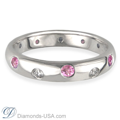 Six Diamonds Six Pink Sapphires wedding band-3.7mm width