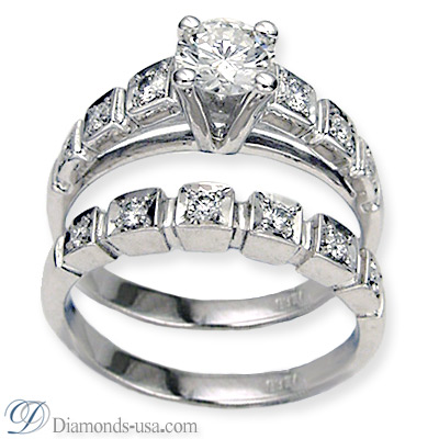 0.59 Carats, Princess, Engagement and Wedding Diamond Rings Set