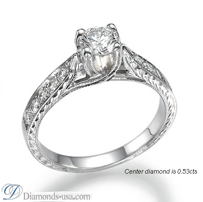 1.05 Carats, Round, Antique style hand engraved engagement ring