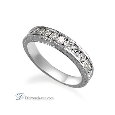 Hand Engraved wedding or anniversary band with 0.35 carats Round diamonds