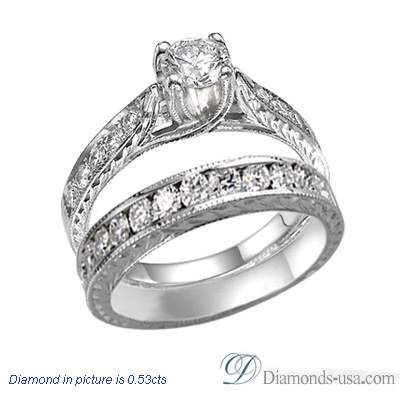 0.3 Carats, Round, Antique Engagement and wedding rings