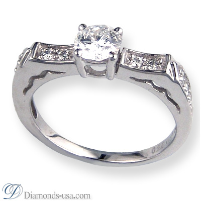 3.02 Carats, Heart, Engagement ring with side stones settings
