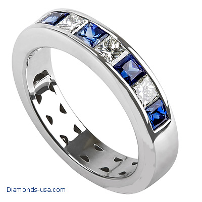 4.7mm Diamond and Sapphires Princess wedding  or anniversary band-finished