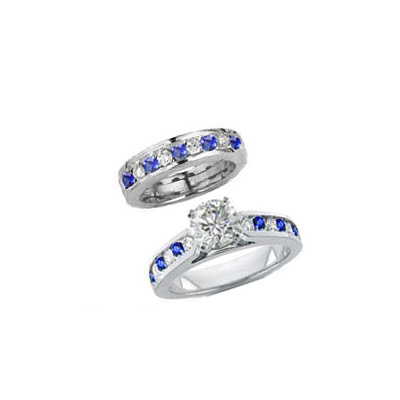1.07 Carats, Princess, Engagement and Wedding Diamond Rings Set