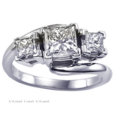 Embracing princess cut three stone engagement ring