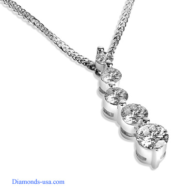 1 carat five diamond Journey Pendant