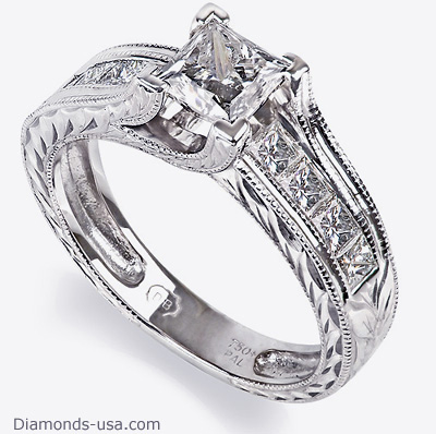 Hand Engraved Princess engagement ring settings