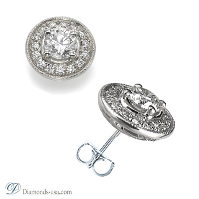 Designers diamond stud earrings with pave set Diamonds