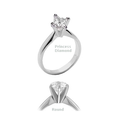 Princess and Rounds Compass Engagement Ring