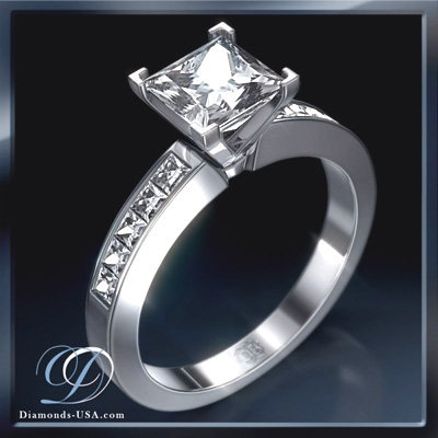 Engagement ring, 0.50 carat side Princess diamonds
