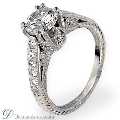 0.59 Carats, Round, Antique style hand engraved engagement ring
