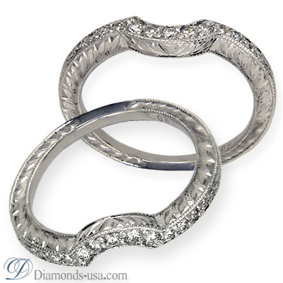 Antique style Wedding band for Engagement ring #32792
