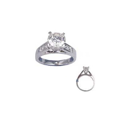 0.92 Carats, Radiant, Engagement ring with side stones settings, finished