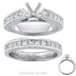 Bridal rings set, 2 carats Princess side diamonds