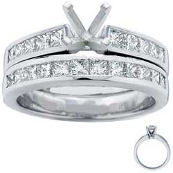 Bridal set, Princess accent diamonds 1.05 Cts