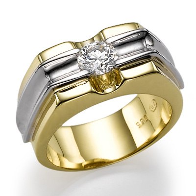 0.5 Carats, Round, Men diamond ring