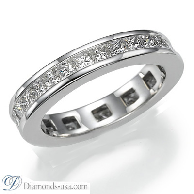 2.06 carats Princess diamonds channel set  eternity ring