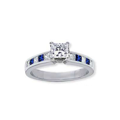 1 Carats, Radiant, Engagement ring with side stones settings, finished