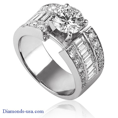 1.08 Carats, Round, Engagement ring with side stones settings