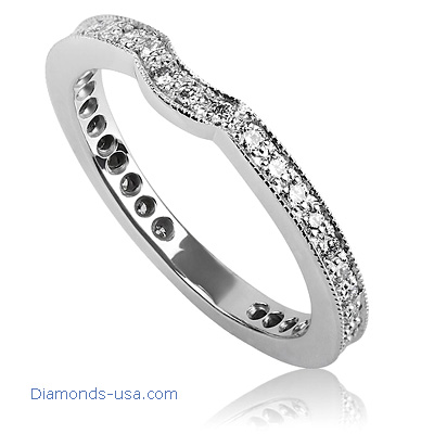0.40 carat Pave set waved Wedding band