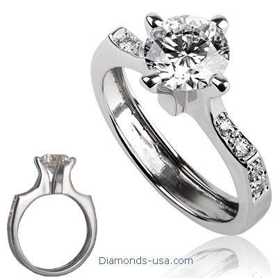 0.33 Carats, Princess, Engagement ring with side stones settings