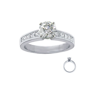 2.42 Carats, Pear, Engagement ring with side stones settings