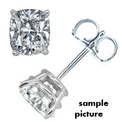0.71 Carats, Cushion, Diamond Earring Studs-Settings
