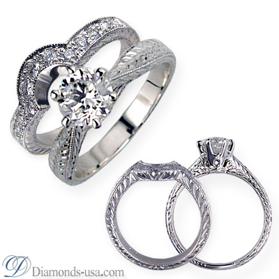 1.07 Carats, Round, Antique Engagement and wedding rings