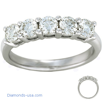 1 carat five round diamonds anniversary ring