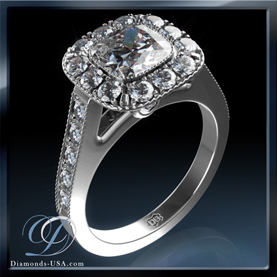 0.4 Carats, Cushion, Engagement ring with side stones settings