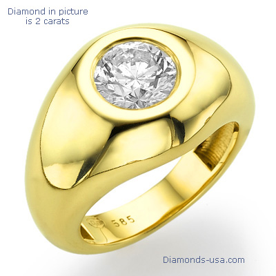 0.28 Carats, Round, Men diamond ring