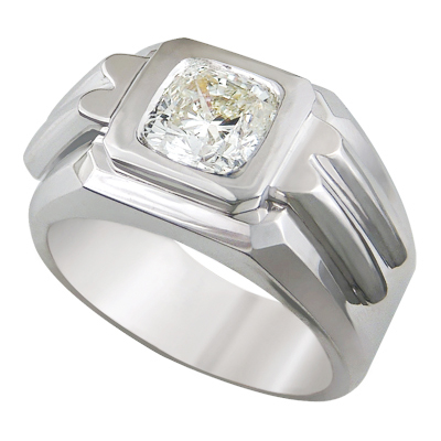 0.41 Carats, Round, Men diamond ring