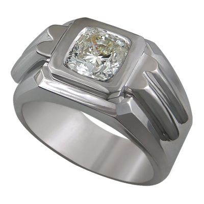 0.52 Carats, Round, Men diamond ring