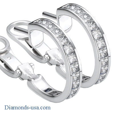 3 Carat Princess channel hoop earrings