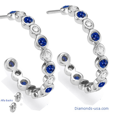 Diamonds and Blue Cylon Sapphires Hoop Earrings