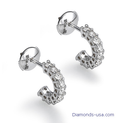 Diamond hoop earrings, 0.70 carats.
