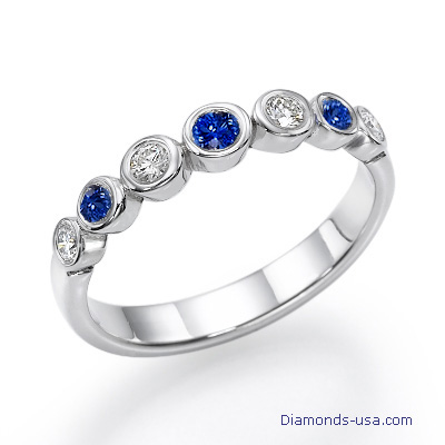 Seven Diamond & Sapphires wedding or engagement ring