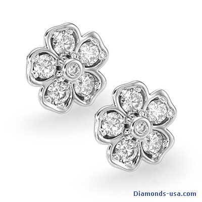 Flower designers earrings, 1 carat diamonds