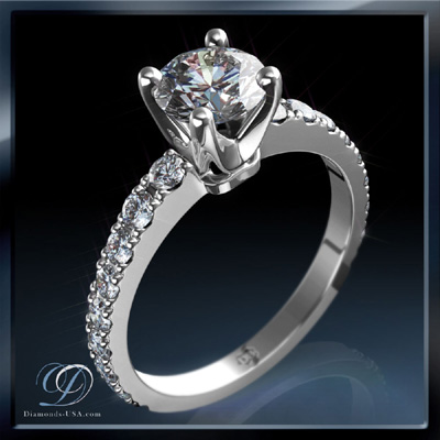 1.74 Carats, Round, Engagement ring with side stones settings