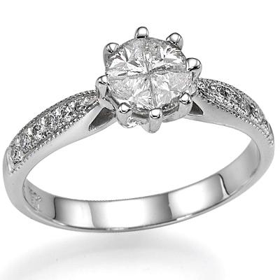 1 carat look made of four smaller diaminds