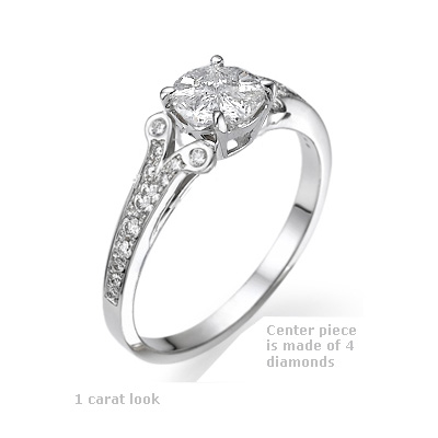 Cartier inspired engagement ring with side diamonds