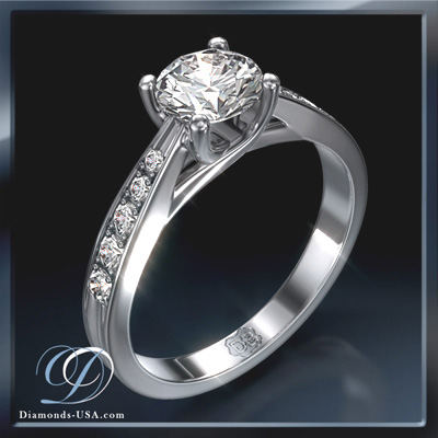 1.03 Carats, Round, Engagement ring with side stones settings